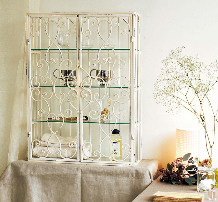 SHABBY IRON&&GLASS SHELF WHITE【収納】【ラック】【ESP726WH】