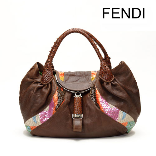 a24a94f7fe1 Import shop P.I.T.  FENDY Fendi spy bag   tote bag leather and sequins  Brown