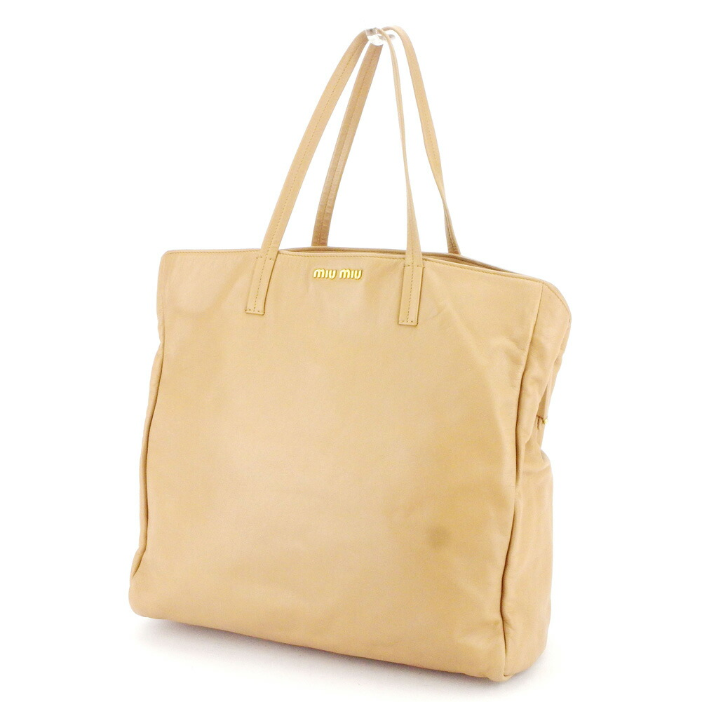 miu miu Tote Bag logo pink beige leather Auth used T9872