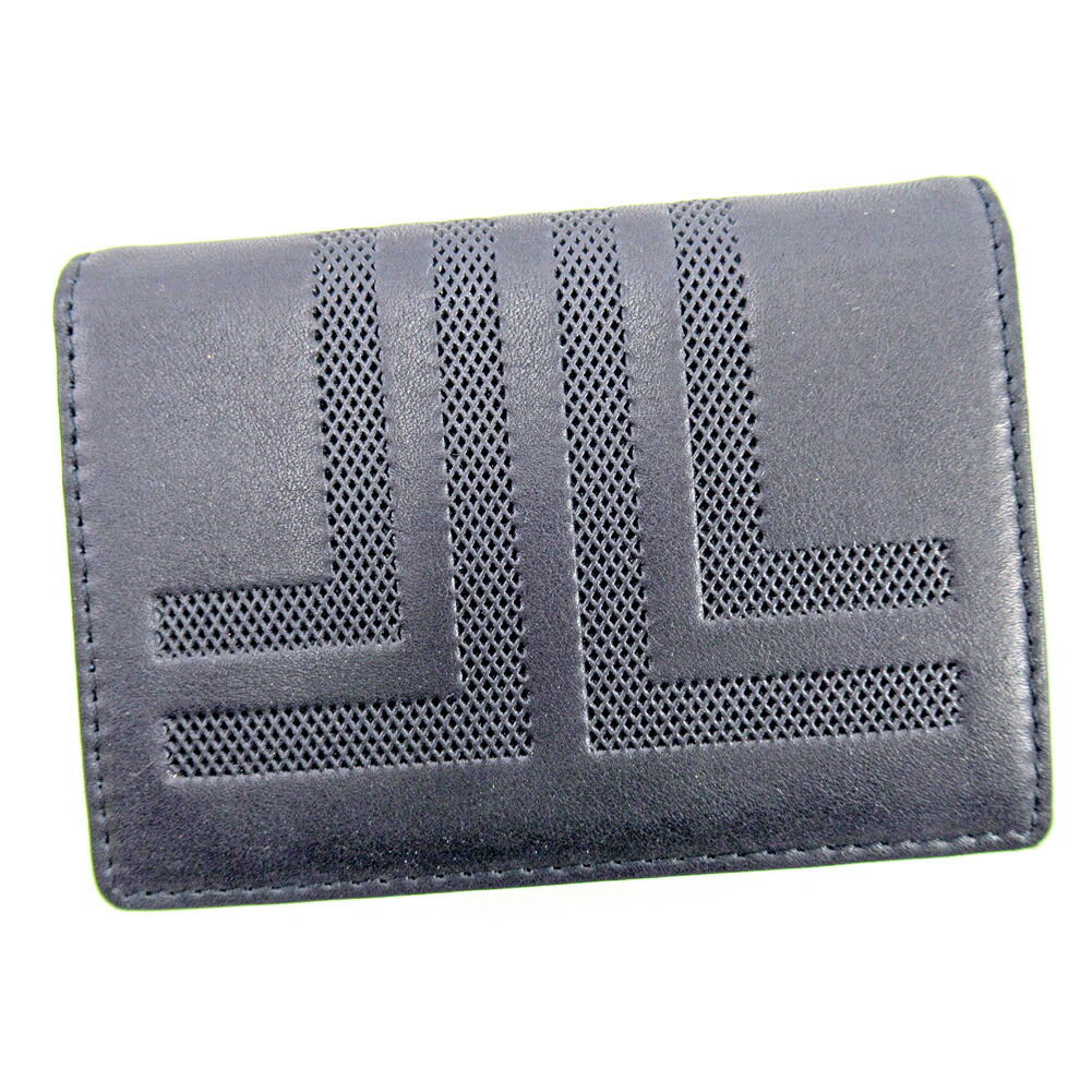 Auth LANVIN Card Case Card Holder Women''s Navy Leather Sale used E1411