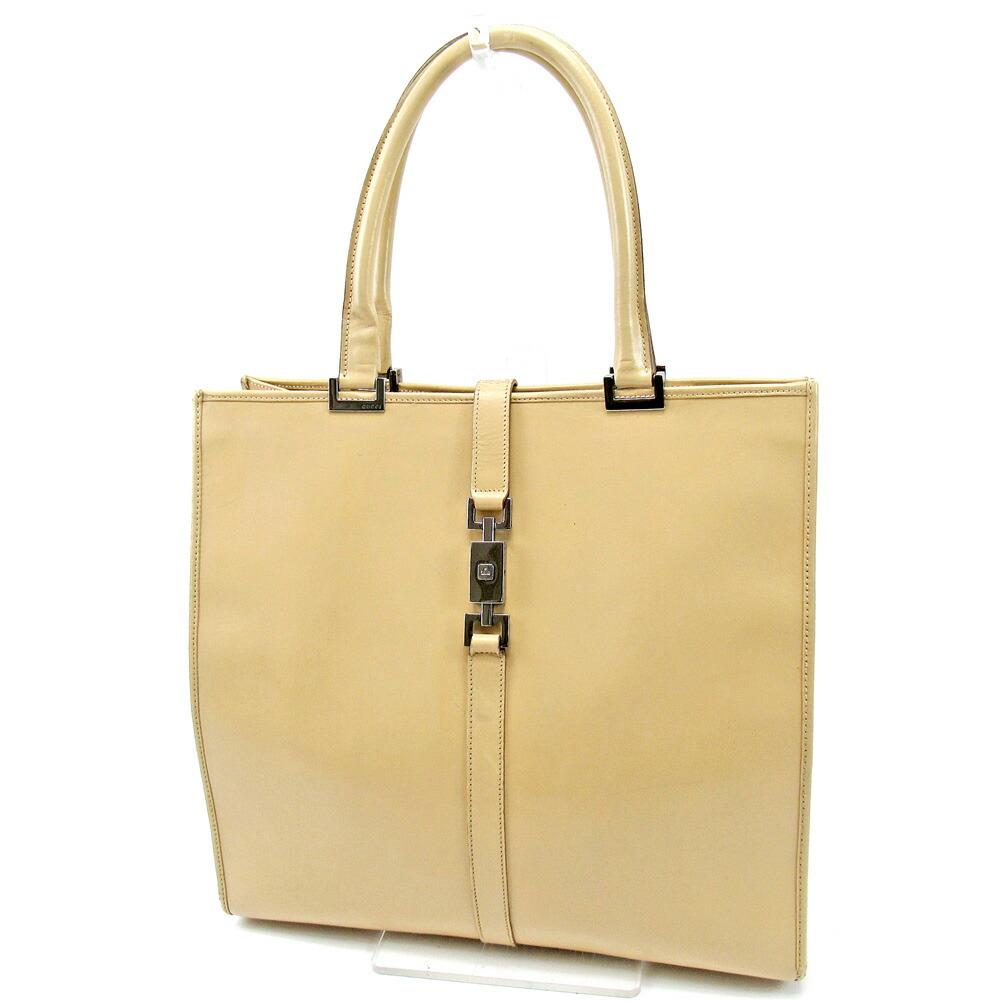 Auth Gucci Tote Bag Handbags Mens Jackie Hardware Beige Leat
