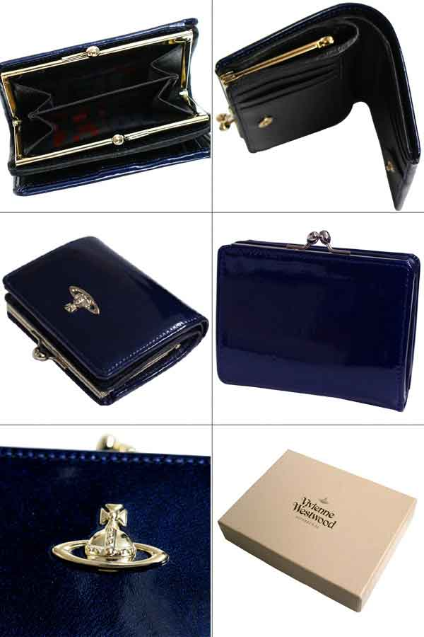 【楽天市場】【送料無料】ヴィヴィアン ウエストウッド Vivienne Westwood 二つ折り財布 ブルー PATENT/パテント APOLLO  がま口 32264【ヴィヴィアン財布】【Luxury