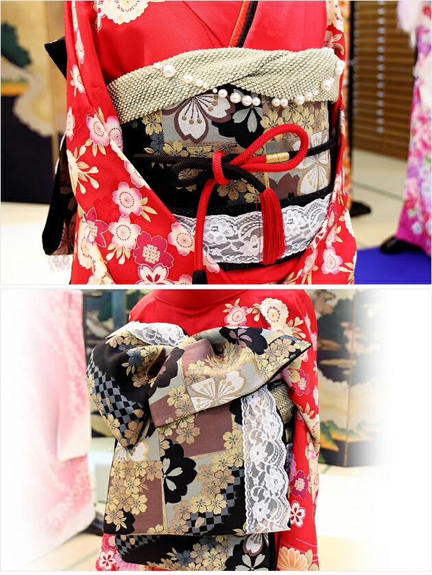 振袖レンタル/結婚式/卒業式/振袖/レンタル/赤地桜菊/往復送料無料