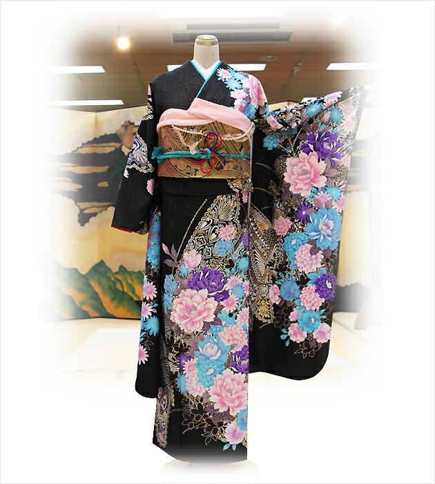 振袖レンタル/結婚式/卒業式/振袖/レンタル/黒地牡丹に蝶/往復送料無料