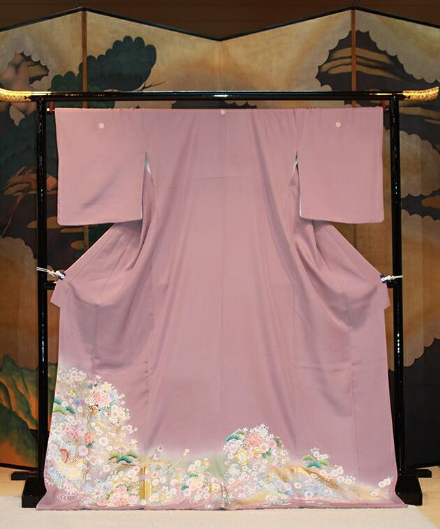 色留袖レンタル/結婚式/卒業式/色留袖/レンタル/麗鳳花車に熨斗/往復送料無料