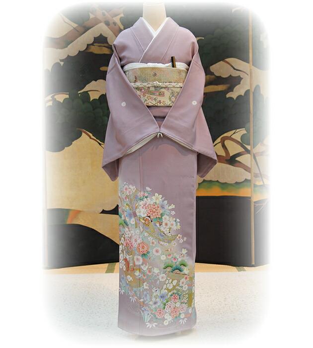 色留袖レンタル/結婚式/卒業式/色留袖/レンタル麗鳳花車に熨斗/往復送料無料