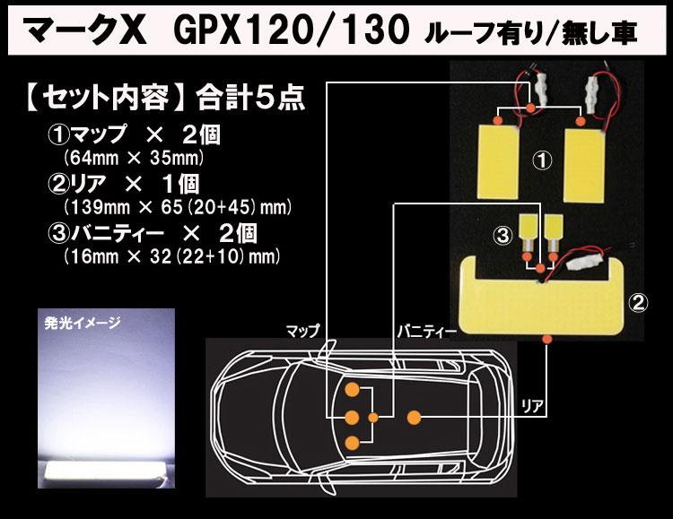 マークエックス 120系/130系 全面発光LEDルームランプ セット内容