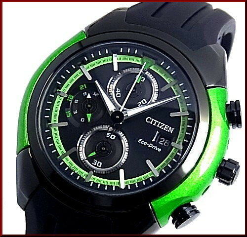 Citizen Chronograph Men Solar Watch Black Green Case Black Clockface Black Rubber Belt Ca0289 00e Foreign Countries Model