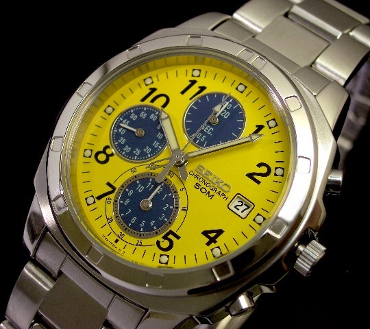 Bright Seiko Chronograph Mens Watch Yellow Blue