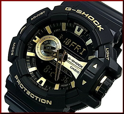 huge discount 71779 4f21f CASIO/G-SHOCK アナデジメンズ watch black / yellow gold foreign countries model  GA-400GB-1A9