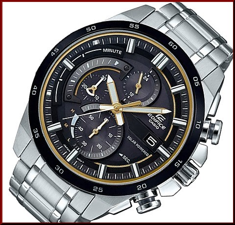 BRIGHT  CASIO EDIFICE solar watch chronograph men black   gold ... 794073a7255b