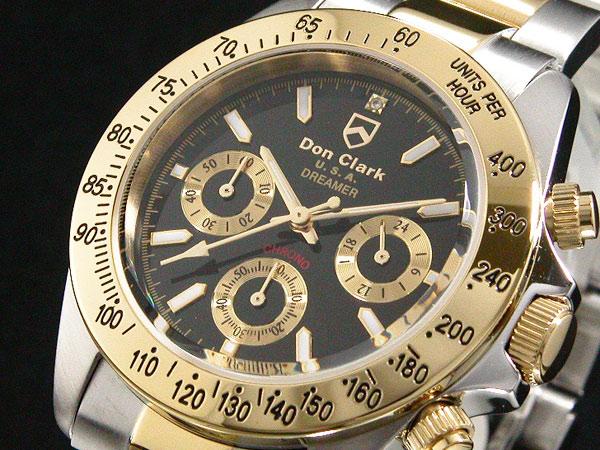 ダンクラーク DONCLARK クロノグラフ 腕時計 DM-2051-05GS 文字盤、全体