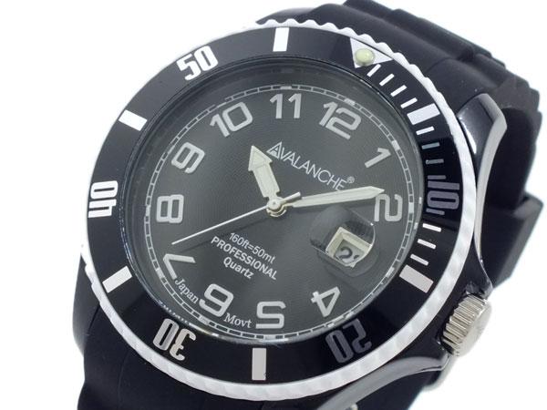 アバランチ AVALANCHE クオーツ 腕時計 AV-1019S-BKW-44 ブラック