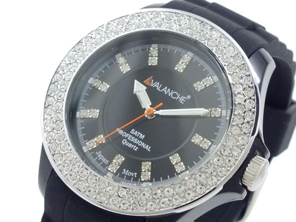 アバランチ AVALANCHE クオーツ 腕時計 AV-107S-BK-44 ブラック