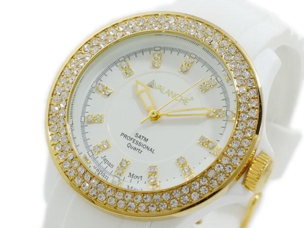 アバランチ AVALANCHE クオーツ 腕時計 AV-107S-WHGD-40 ホワイト