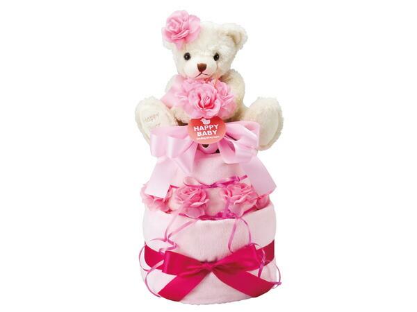 ハッピーベビー Happy Baby おむつケーキ2段 20135000P 6041-086 ピンク