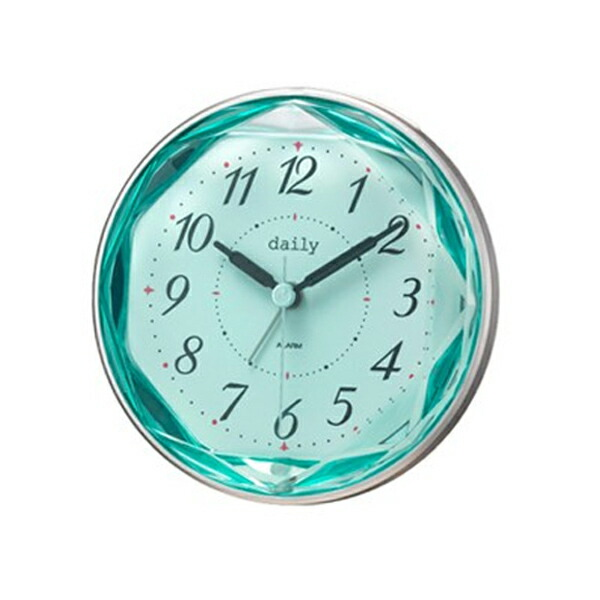 リズム RHYTHM デイリー 目覚まし時計 ジュエレット 4SE546DN05 シルバー/ブルー