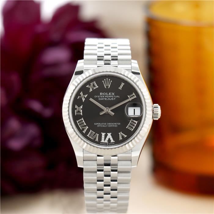 ロレックス デイトジャスト 31 278274J ダークグレー VIダイヤモンド ROLEX 新品 レディース 腕時計 送料無料
