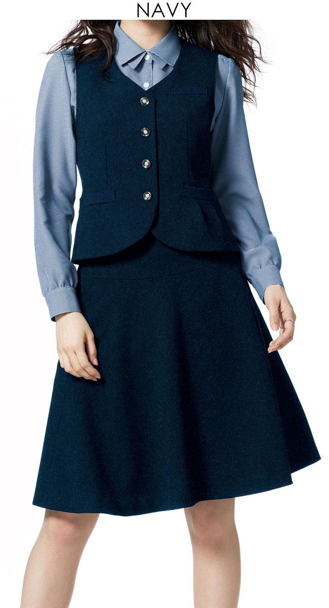 スーツ=フェミニンなフレアスカートカラー:ブラック・ネイビー