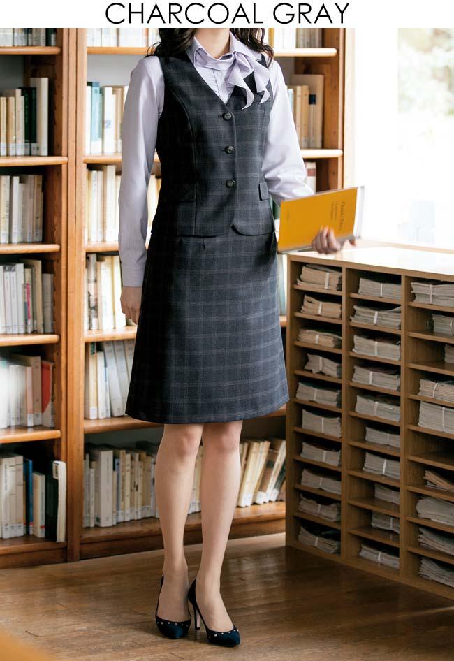 スーツ=事務服Aラインスカート*ミックスカラーチェック柄