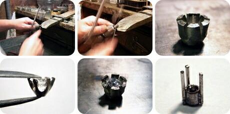 誕生石を入れる事が出来る婚約指輪の製作風景