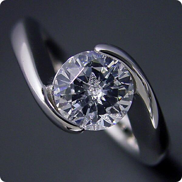 1カラット版:抱き合わせ伏せこみタイプの婚約指輪