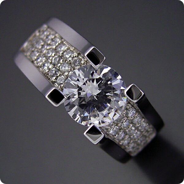 1カラットダイヤモンドの大きさを生かした婚約指輪