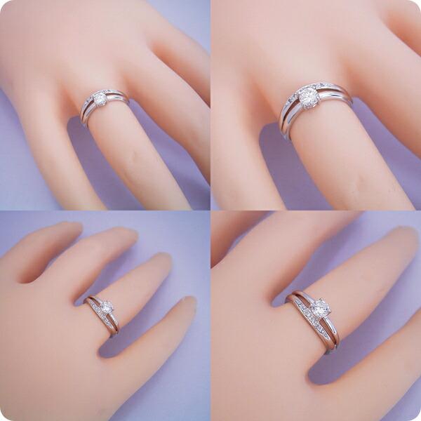 1本の指輪なのに重ね着けしているような婚約指輪