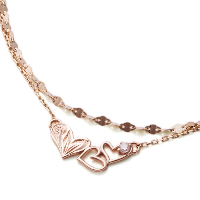 """""""ハート""""をモチーフにしたブレスレットです。ANELA(アネラ) ハートブレスレット K10PG ピンクゴールド ダイヤモンド"""