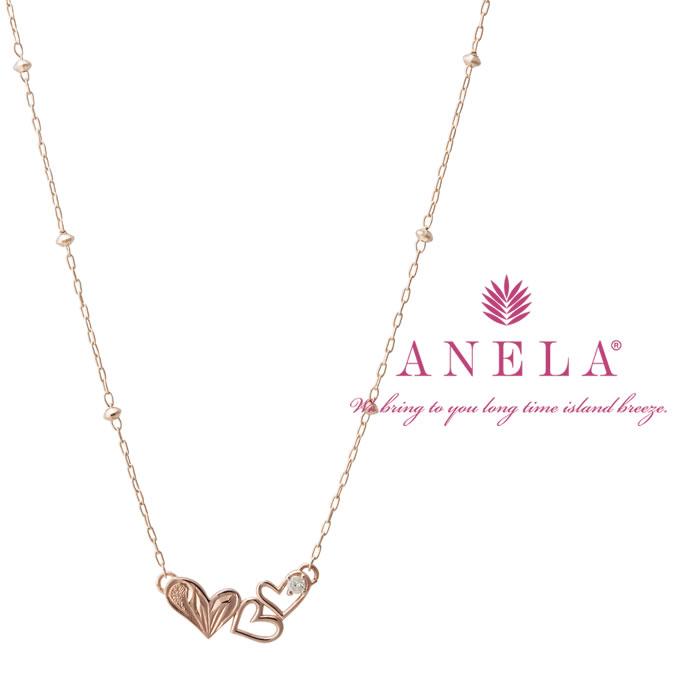 ハートが3つ連なった可愛らしいデザインANELA(アネラ) ハートネックレス K10PG ピンクゴールド ダイヤモンド