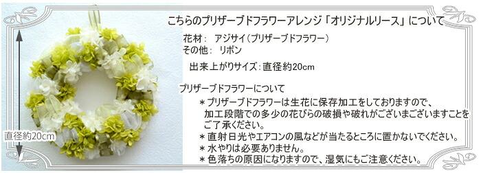 こちらのプリザーブドフラワーアレンジ 「オリジナルリース」 について 花材:アジサイ(プリザーブドフラワー)、リボン 出来上がりサイズ:直径約20cm ※プリザーブドフラワーについて *プリザーブドフラワーは生花に保存加工をしておりますので、  加工段階での多少の花びらの破損や破れがございまございますことを  ご了承ください。  *直射日光やエアコンの風などが当たるところに置かないでください。  *水やりは必要ありません。  *色落ちの原因になりますので、湿気にもご注意ください。