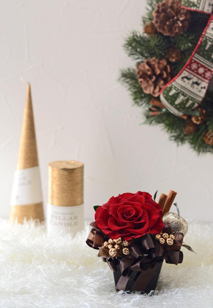 クリスマス限定ブラックアレンジ ギフトや贈り物に人気のプリザーブドフラワーアレンジ