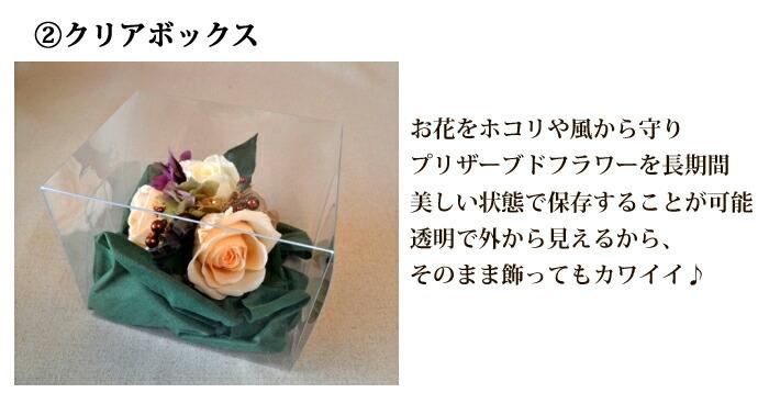 クリアボックス お花をホコリや風から守り プリザーブドフラワーを長期間美しい状態で保存することが可能透明で外から見えるから、 そのまま飾ってもカワイイ♪