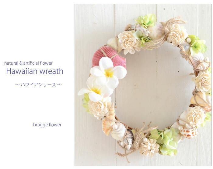 本物の貝、プルメリアの南国風ハワイアンリース、アーティフィシャルフラワー(造花)自然素材のナチュラルリース