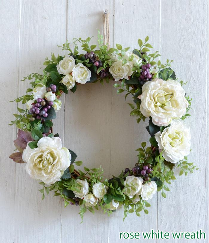 ローズホワイトリース アーティフィシャルフラワー(造花)リース ナチュラル グリーン&ホワイトリース