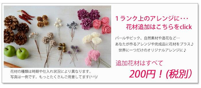 手作りキットにプラスワン!パールやソーラフラワー、キラキラのピックなど…あなただけのオリジナルデザインにできます。全て200円!!気軽にプラスできる金額でご用意いたしました♪