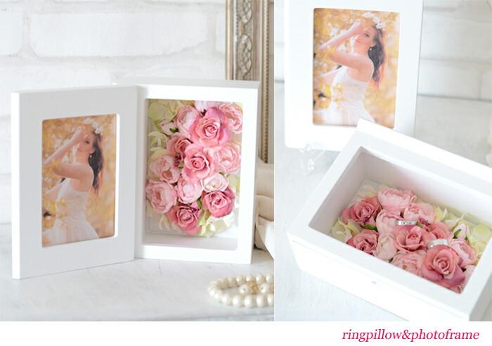 アーティフィシャルフラワー(造花)キット(材料・マニュアル)リングピローにもなる写真たて・フォトフレーム ご結婚のお祝いに花電報、出産のお祝いや結婚のお祝い、先生やお友達への贈り物やプレゼントに