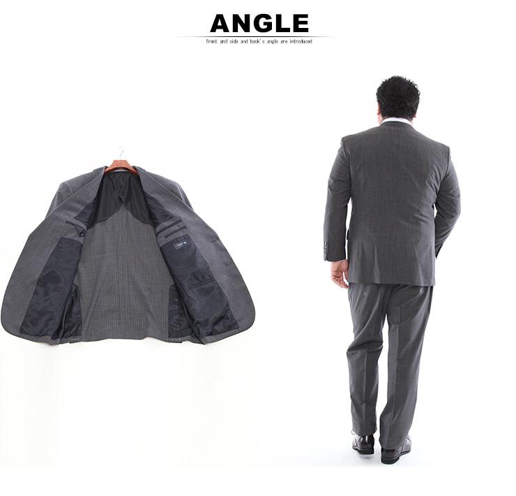 メンズスーツ 大きいサイズ 春夏対応 クールビズ対応 シングル 2つボタン ツーパンツ グレー TAB体 KB体 KBE体 2KE体 HYBRIDBIZ COOL・着用イメージ4・大きいサイズメンズ洋服のサカゼン