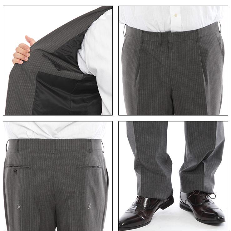 メンズスーツ 大きいサイズ 春夏対応 クールビズ対応 シングル 2つボタン ツーパンツ グレー TAB体 KB体 KBE体 2KE体 HYBRIDBIZ COOL・着用イメージ6・大きいサイズメンズ洋服のサカゼン