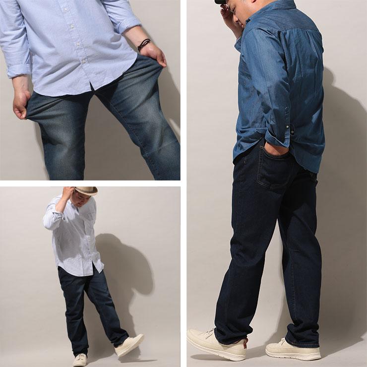 大きいサイズメンズ洋服のサカゼン:ジーンズ メンズ 大きいサイズ WEB限定 ストレッチ ジップフライ 5ポケット ジーパン デニムパンツ ブルー/ネイビー/ワンウォッシュ 100-140cm PIMLICO ピムリコ・着用イメージ6