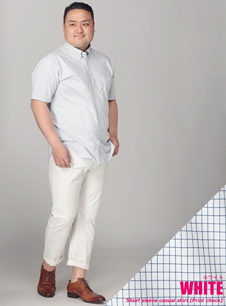 大きいサイズメンズ洋服のサカゼン:半袖シャツ 大きいサイズ メンズ プリントチェック ボタンダウン ビジカジ ホワイト/レッド/オールドローズ/ブルー/ネイビー 3L-10L B&T CLUB HYBRIDBIZ・着用イメージ3