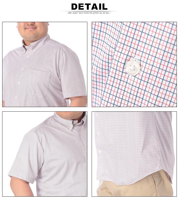 大きいサイズメンズ洋服のサカゼン:半袖シャツ 大きいサイズ メンズ プリントチェック ボタンダウン ビジカジ ホワイト/レッド/オールドローズ/ブルー/ネイビー 3L-10L B&T CLUB HYBRIDBIZ・着用イメージ9