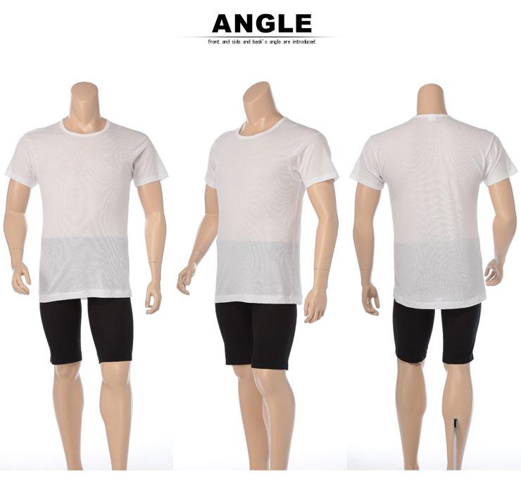 肌着 メンズ 大きいサイズ Tシャツ 半袖 春夏対応 HYBRIDBIZ×BVD 接触冷感 綿100% クルーネック アンダーシャツ 3L-7L ビーブイディ B.V.D.・着用イメージ5・大きいサイズメンズ洋服のサカゼン