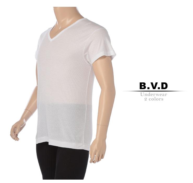大きいサイズメンズ洋服のサカゼン:肌着 大きいサイズ Tシャツ 1分袖 メンズ 春夏対応 HYBRIDBIZ×BVD 接触冷感 綿100% Vネック アンダーシャツ 白/黒 3L-7L ビーブイディ B.V.D.・着用イメージ3