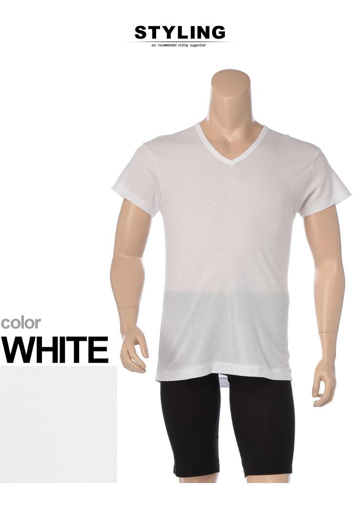 大きいサイズメンズ洋服のサカゼン:肌着 大きいサイズ Tシャツ 1分袖 メンズ 春夏対応 HYBRIDBIZ×BVD 接触冷感 綿100% Vネック アンダーシャツ 白/黒 3L-7L ビーブイディ B.V.D.・着用イメージ4