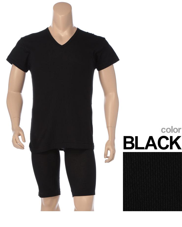 大きいサイズメンズ洋服のサカゼン:肌着 大きいサイズ Tシャツ 1分袖 メンズ 春夏対応 HYBRIDBIZ×BVD 接触冷感 綿100% Vネック アンダーシャツ 白/黒 3L-7L ビーブイディ B.V.D.・着用イメージ5