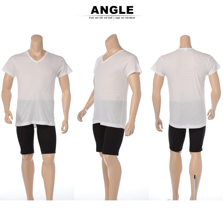 大きいサイズメンズ洋服のサカゼン:肌着 大きいサイズ Tシャツ 1分袖 メンズ 春夏対応 HYBRIDBIZ×BVD 接触冷感 綿100% Vネック アンダーシャツ 白/黒 3L-7L ビーブイディ B.V.D.・着用イメージ6