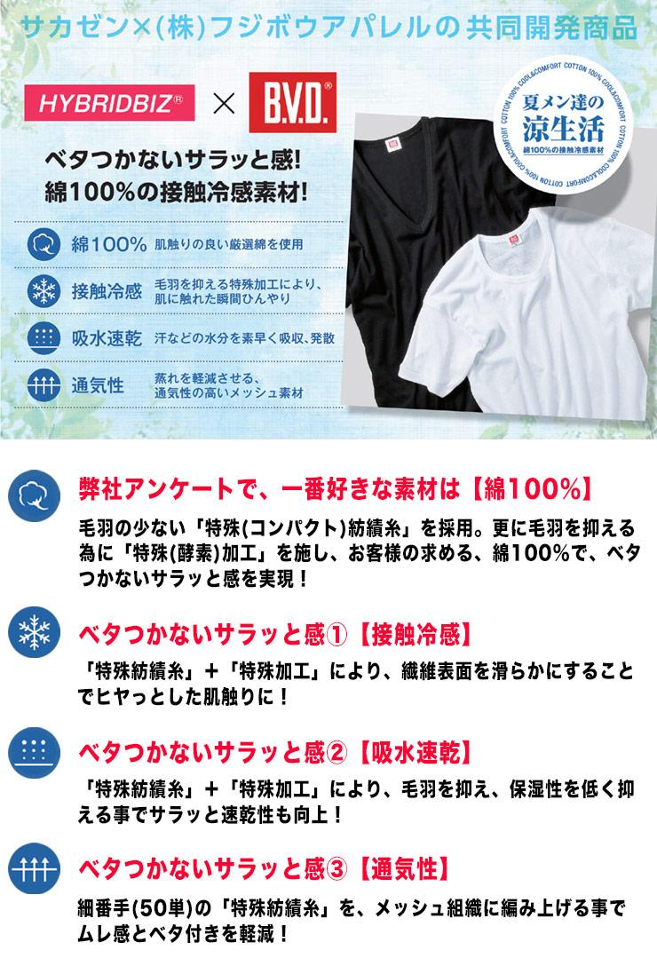 大きいサイズメンズ洋服のサカゼン:肌着 大きいサイズ Tシャツ 1分袖 メンズ 春夏対応 HYBRIDBIZ×BVD 接触冷感 綿100% Vネック アンダーシャツ 白/黒 3L-7L ビーブイディ B.V.D.・着用イメージ2