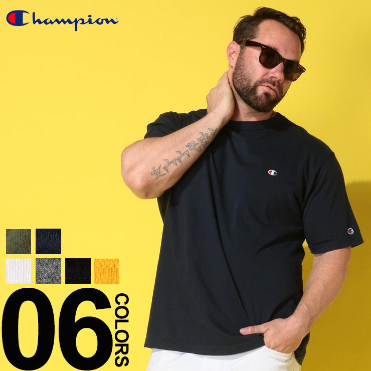チャンピオン Tシャツ 半袖 大きいサイズ 胸ロゴ メンズ 綿100% スクリプトロゴ クルーネック ホワイト/ブラック/イエロー/グリーン/ネイビー 3L 4L 5L チャンピオン Champion