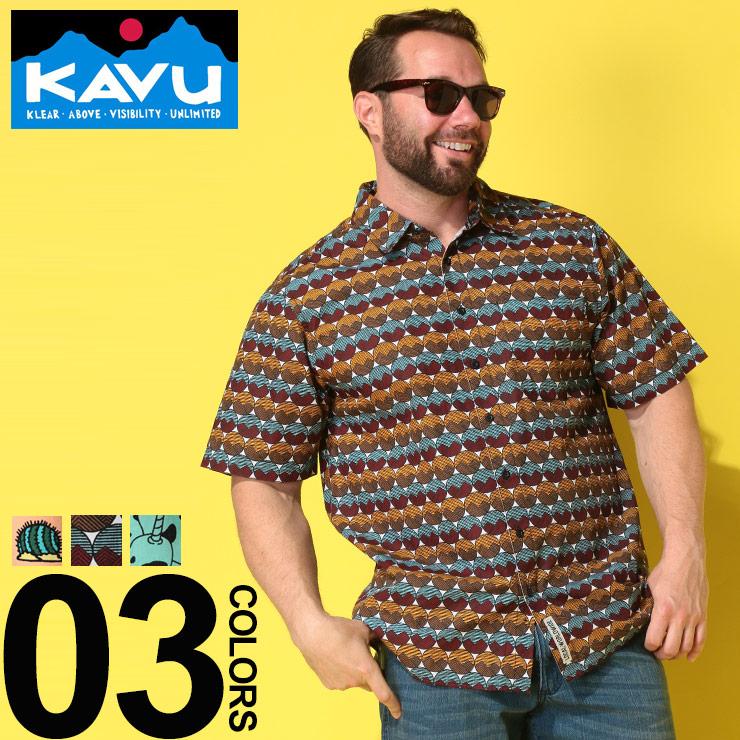 半袖シャツ 大きいサイズ メンズ 綿100% 総ロゴ ポケット付き オレンジ/ブラウン/グリーン 1XL 2XL カブー KAVU|大きいサイズメンズ洋服のサカゼン